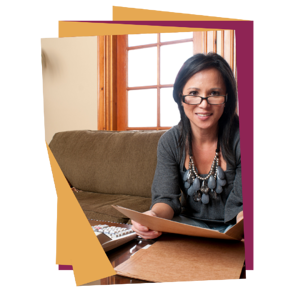 woman with folder and calculator